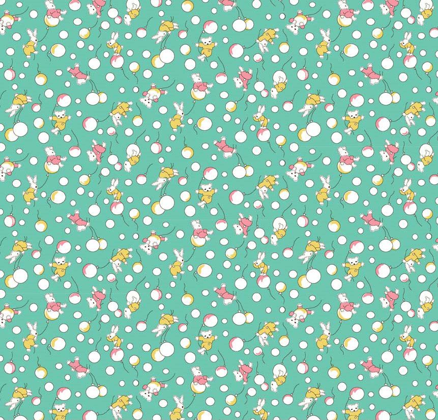 Bunnies balloons in aqua new forest fabrics for Baby fabric uk