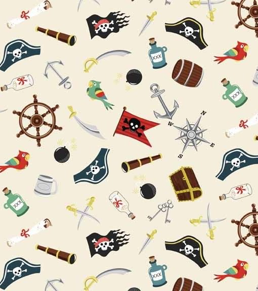 Makower Pirates Labels Cotton Craft Fabric By The Fat Quarter