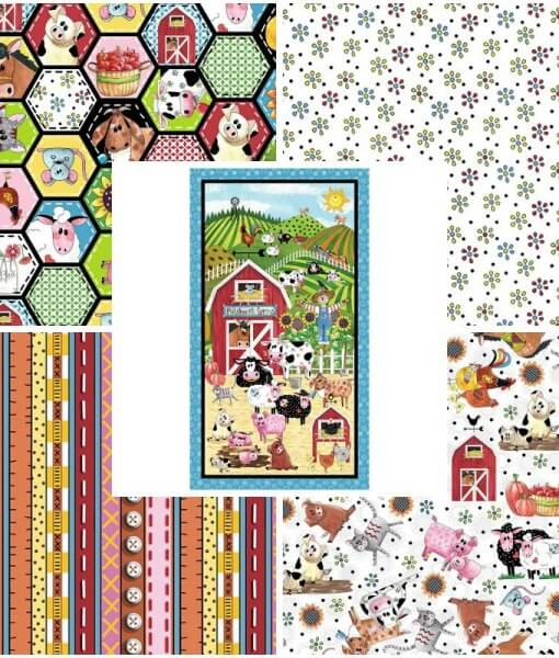 Patchwork Farm Fat Quarter Pack with Quilt Panel