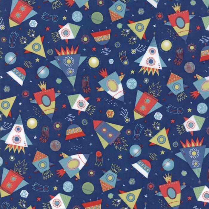Stellar baby by moda fabrics blast off in nightfall for Baby fabric uk