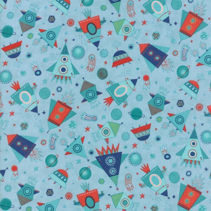 Stellar baby by moda fabrics blast off in sky new for Baby fabric uk