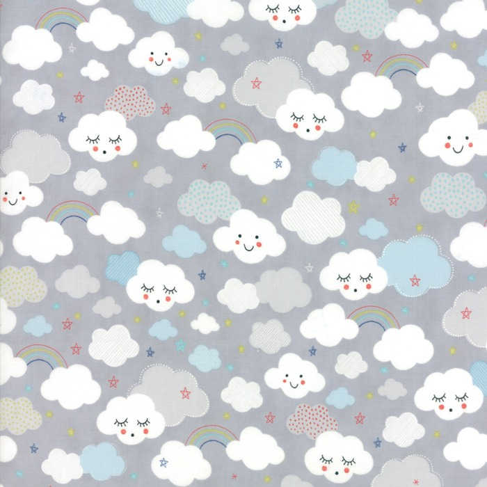 Stellar baby by moda fabrics cutie clouds in moonbeam for Baby fabric uk