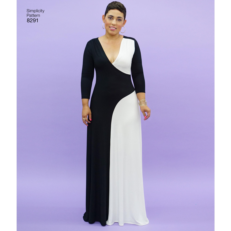 Simplicity Pattern 8291 Womenswomens Knit Dress New Forest Fabrics