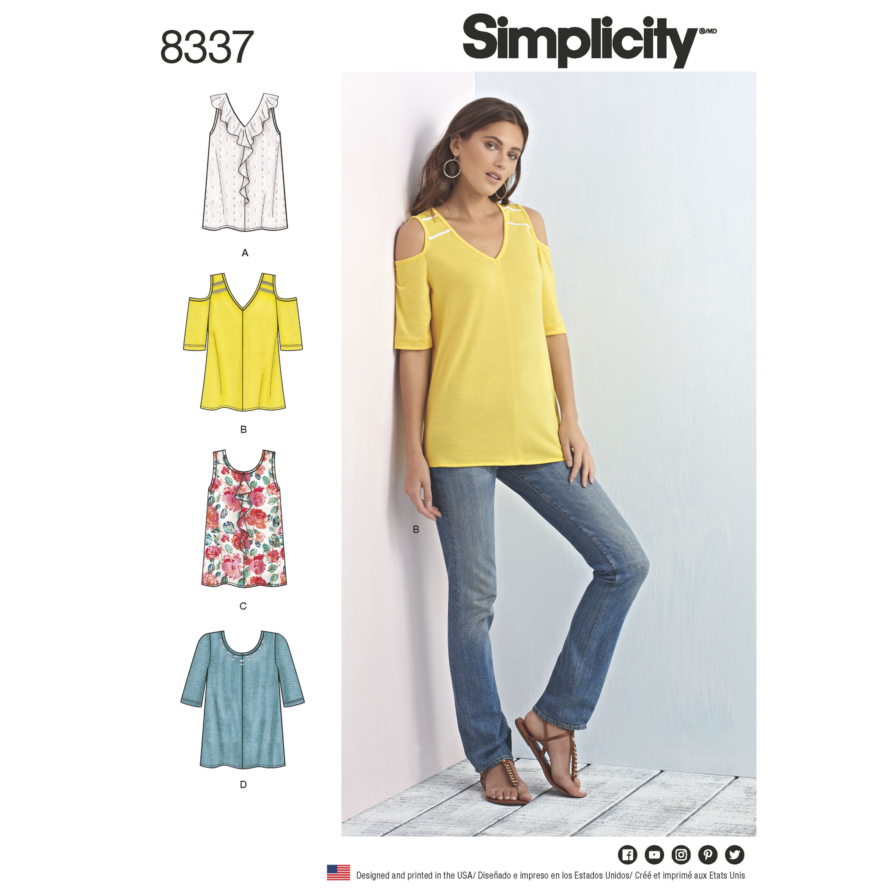 e1ca8af2c6fa Simplicity Pattern 8337 Womens Knit Tops with Bodice and Sleeve ...
