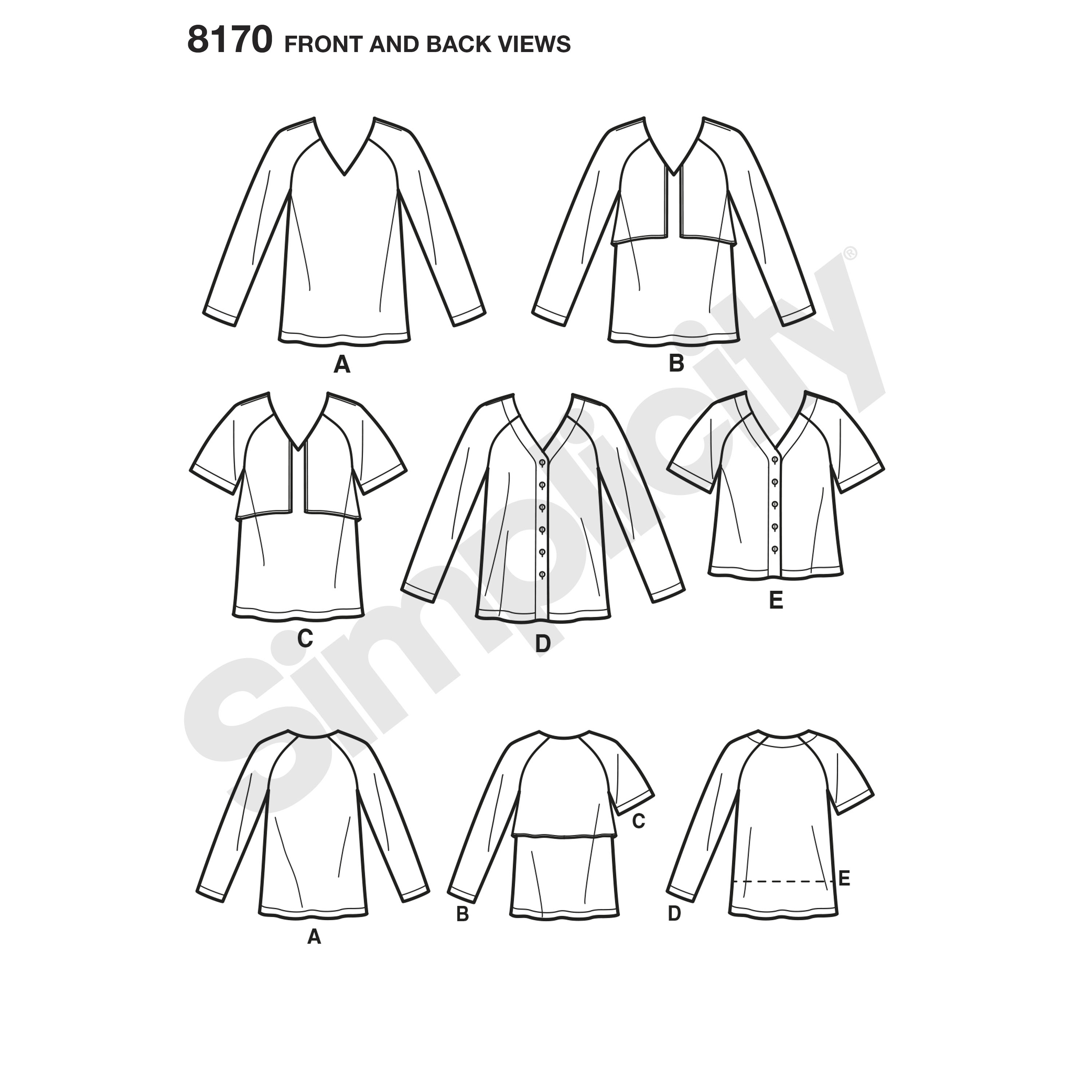 Pattern 8170 Women's Easy to Sew Tunics and Tops