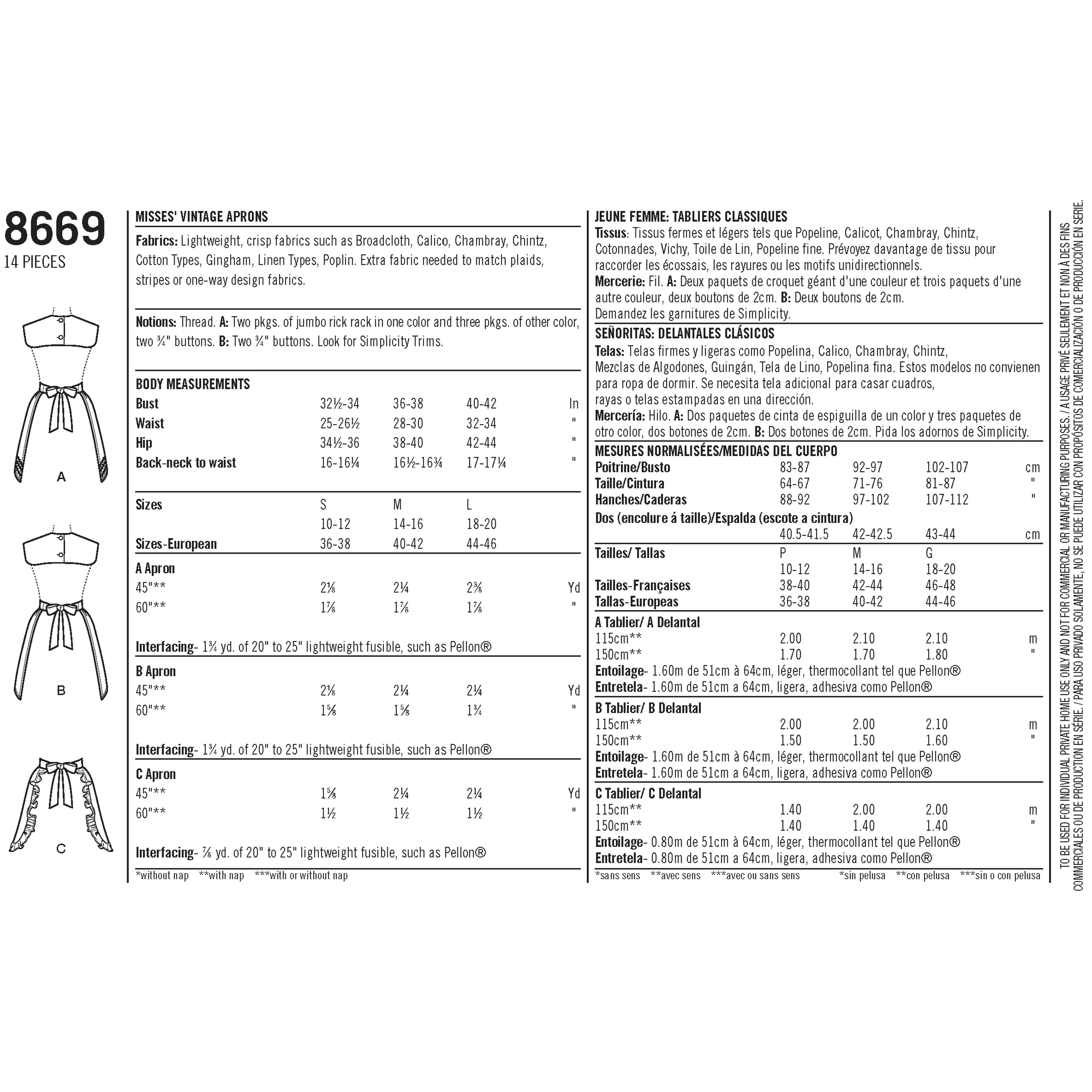 Pattern 8669 Womens Vintage Aprons - New Forest Fabrics