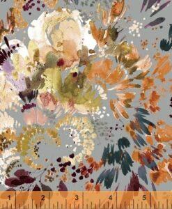 Botany Full Bloom on Grey Cotton Lawn - Kelly Ventura for Windham Fabrics
