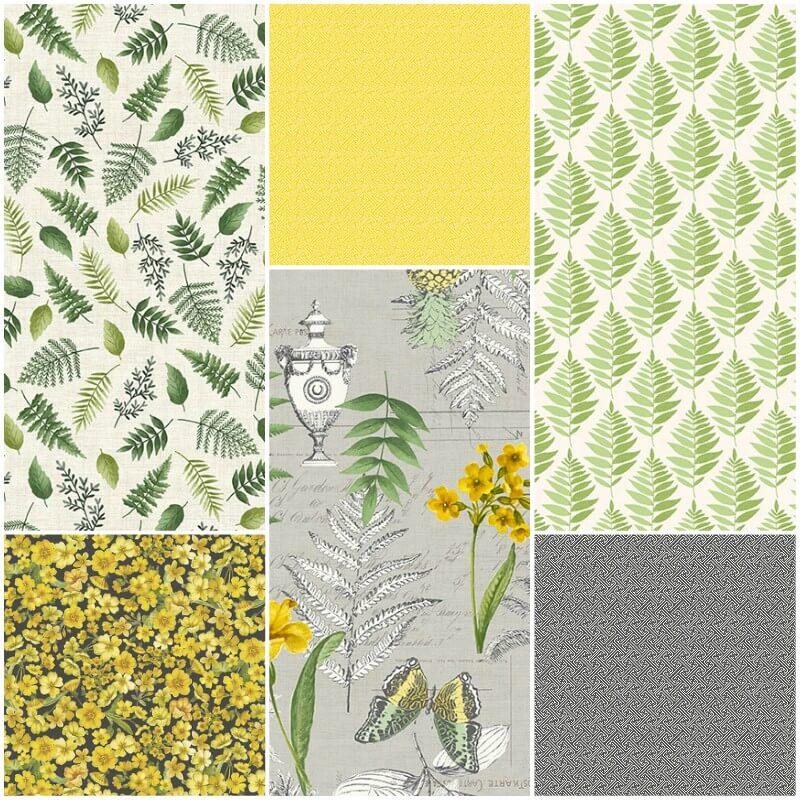 Cotton Fabric  Fat Quarter Makower Fern Garden Montage Grey