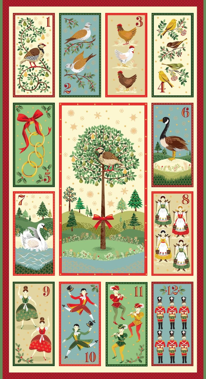 12 Days Of Christmas.Twelve Days Of Christmas Makower Uk 12 Days Of Christmas Panel New Forest Fabrics